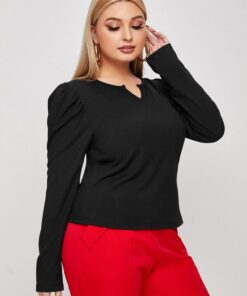 Shein Plus Notch Neck Gigot Sleeve Solid Tee