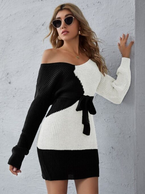 Shein Two Tone Belted Sweater Dress