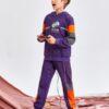 SHEIN Boys Letter Graphic Colorblock Hoodie & Sweatpants Set