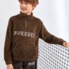 SHEIN Boys Zip Half Placket Letter Embroidery Pouch Pocket Teddy Sweatshirt