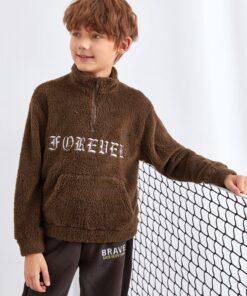SHEIN Boys Zip Half Placket Letter Embroidery Pouch Pocket Teddy Sweatshirt