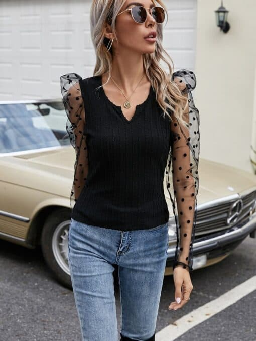 SHEIN Contrast Dobby Mesh Sleeve Fitted Top