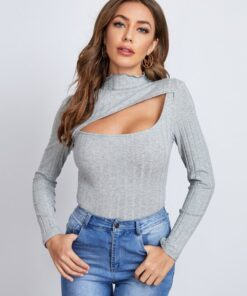 SHEIN Cutout Detail Rib-knit Form Fitted Tee