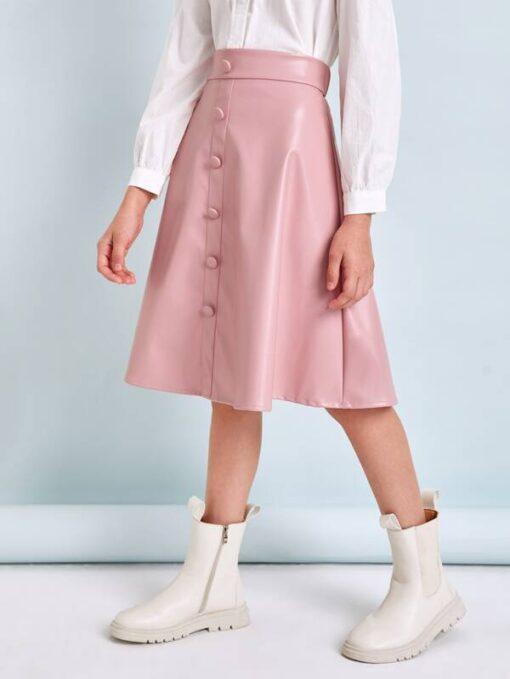 SHEIN Girls Buttoned Front PU Leather Skirt