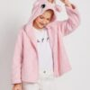 SHEIN Girls Contrast Faux Fur Zipper Placket Hooded Teddy Jacket With Ears