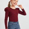 SHEIN Girls Gingham Print Leg-of-mutton Sleeve Top