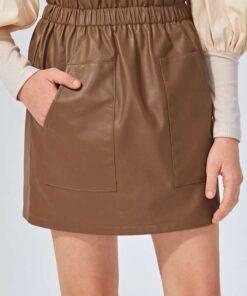 SHEIN Girls Paperbag Waist PU Leather Skirt