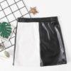 SHEIN Girls Spliced Two Tone PU Leather Skirt