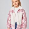 SHEIN Girls Zip Up Teddy Collar and Panel Quilted Jacket