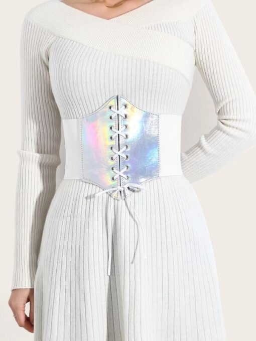 SHEIN Holographic Lace Up Corset Belt