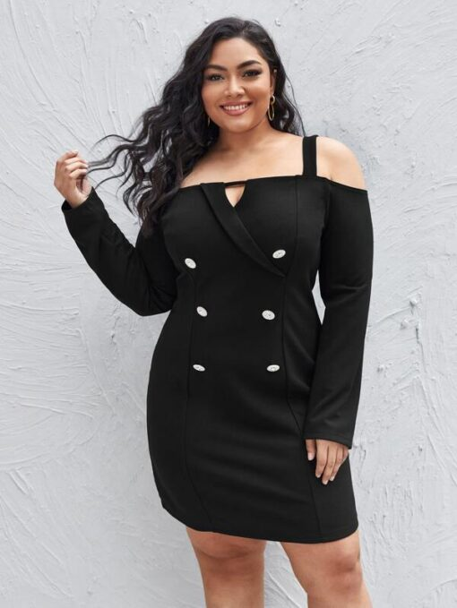 SHEIN Plus Cold Shoulder Double Breasted Dress