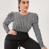 SHEIN Plus Gigot Sleeve Gingham Top
