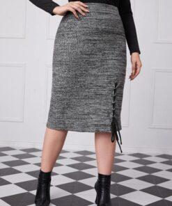 SHEIN Plus Lace Up Hem Knit Skirt