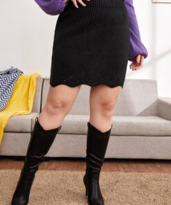 SHEIN Plus Solid Ribbed Knit Skirt