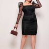 SHEIN Plus Square Neck Leg-of-mutton Sleeve Ruched Mesh Dress