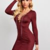SHEIN Rhinestone Lace Up Front Ruched Detail Bodycon Dress