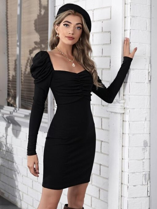 SHEIN Ruched Front Gigot Sleeve Dress