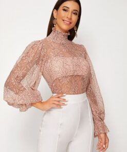SHEIN Shirred Neck Floral Lace Sheer Top Without Bra