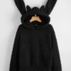 SHEIN Solid Teddy Hoodie With Rabbit Ear