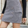 Shein Double Button Houndstooth Skirt