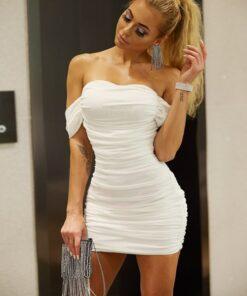 Shein Joyfunear Draped Off Shoulder Ruched Dress