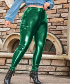 Shein Plus PU Leather Solid Leggings