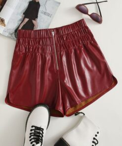 Shein Zip Fly PU Leather Shorts