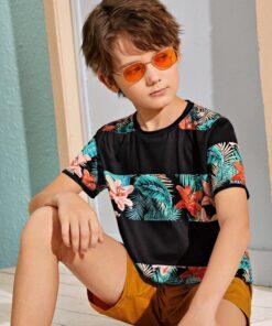 SHEIN Boys Tropical Print Tee