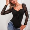 SHEIN Contrast Lace Drawstring Front Bodysuit