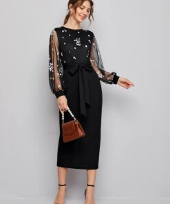 SHEIN Floral Embroidered Mesh Bodice Split Back Belted Dress