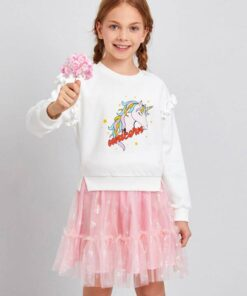 SHEIN Girls Unicorn Print Ruffle Trim Pullover and Mesh Skirt Set