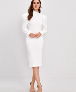 SHEIN Lettuce Edge Mock-neck Gigot Sleeve Pencil Dress