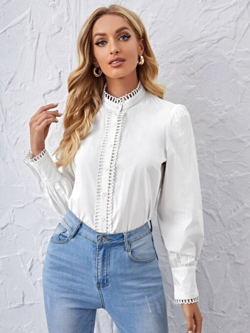 SHEIN Mock Neck Button Front Blouse