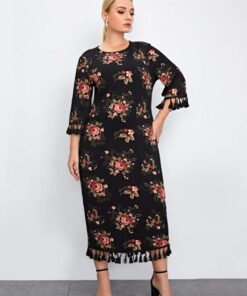 SHEIN Plus Allover Floral Print Tassel Trim Split Hem Dress