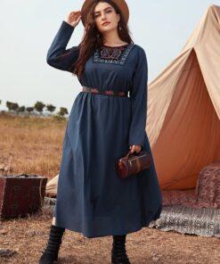 SHEIN Plus Embroidered Yoke Dress