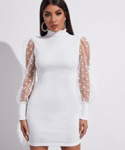 SHEIN Polka Dot Mesh Sleeve Bodycon Dress