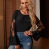 SHEIN Solid Lace Insert Blouse