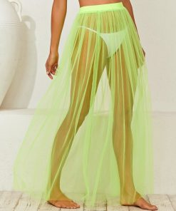 Shein Neon Lime Sheer Cover Up Skirt