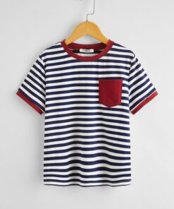 SHEIN Boys Pocket Patched Striped Ringer Tee
