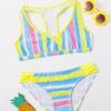 SHEIN Girls Striped Bikini Swimsuit
