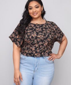 SHEIN Plus Keyhole Back Batwing Sleeve Allover Floral Print Top
