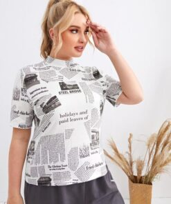 SHEIN Plus Mock Neck Newspaper Print Top
