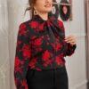 SHEIN Plus Tie Neck Floral Top