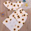 Toddler Girls Sunflower Bardot Top & Shorts & Headband