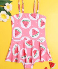 SHEIN Toddler Girls Watermelon Ruffle One Piece Swimsuit