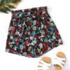Shein Allover Floral Print Belted Paperbag Shorts