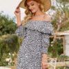 Shein Allover Plants Print Ruffle Bardot Tunic Dress