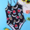 Shein Girls Fruit Print One Piece Swimsuit