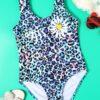 Shein Girls Leopard & Floral Print One Piece Swimsuit