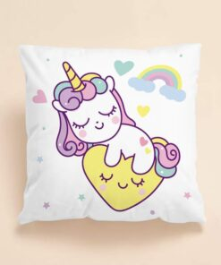 Shein Kids Cartoon Unicorn Print Cushion Cover Without Filler